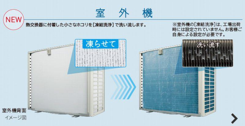日立エアコン白くまくんの熱交換器凍結洗浄-室外機