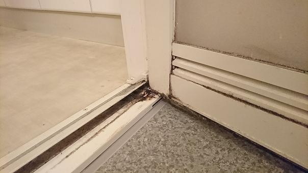 ドアの通気口やパッキンなどについた黄ばみや黒カビよごれ